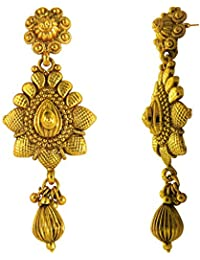 Traditional Ethnic Twin Floral Gold Plated Dangler Earrings For Women By Donna ER30123G