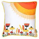 "Chumbak Floral Cotton Cushion Cover - 16"" X 16"", Multicolor"