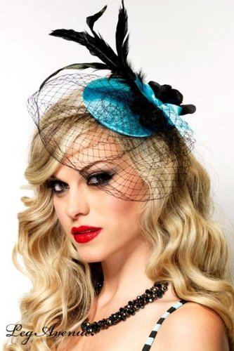 Vixen Fascinator Hair Clip With Net Veil And Feather Accent