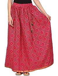 Saadgi Rajasthani Hand Block Printed Handcrafted Pure Rayon Lehnga Skirt For Women/Girls - B06XGHT2MZ