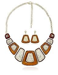 BIG Tree Orange Ornate Necklace Set For Women.