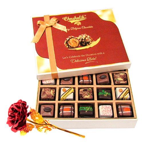 Cheerful Pralines Chocolates With 24k Red Gold Rose - Chocholik Belgium Chocolates