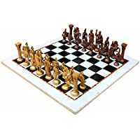 "StonKraft 15"" X 15"" Collectible White Marble Chess Board Game Set + Roman Brass Pieces"