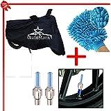 AutoStark Bike Body Cover Black+Tyre Led Light Blue+Bike Cleaning Gloves - Universal For Bike