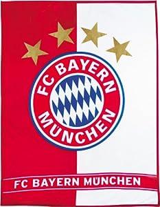 FC Bayern München Fanartikel Fleecedecke Wappen Streifen