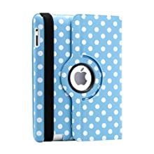 Gearonic 360 Degree Rotating PU Leather Case Smart Cover Stand For The New IPad Blue/White Polka Dot (AV-5000LPUIB_PolkaD...