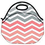 Snoogg Frequency Multicolour Soft Travel Outdoor Carry Lunch Bag Picnic Tote Box Container Zip Out Removable Carry...