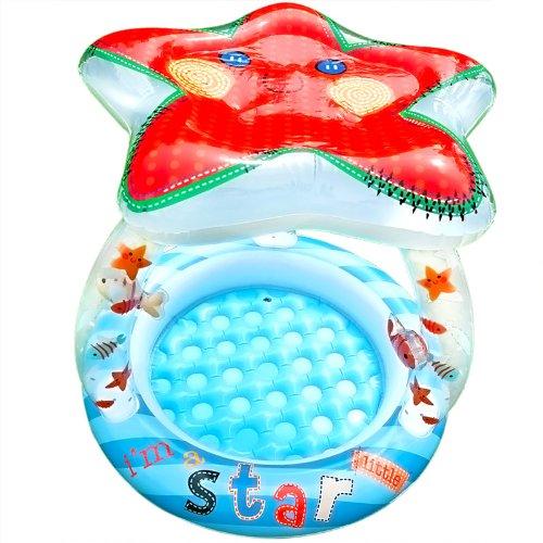 Kinderbecken Schwimmbecken für Babys und Kleinkinder mit Sonnendach Motiv: Seestern 102x86 cm