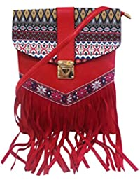 Bhamini Red Ethnic Sling Bag With Tussles