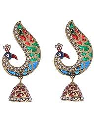 The Jewelbox Antique Gold Plated Peacock Meena Kundan Jhumki Earring