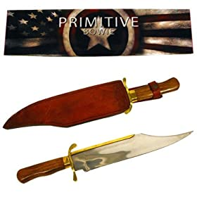 Trademark 25-3259 Brass Wood Stainless Steel Primitive Bowie 18 inch Knife