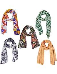 Weavers Villa Set Of 5 Premium Soft Summer Vibrant Coloured Trendy Scarf, Stoles, Dupattas - B01G0FS0F0