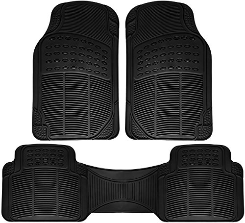 Holiday Sale – All-Weather Rubber Floor Mats – Heavy Duty for Autos – Built to Last (Black) 3 Piece Set