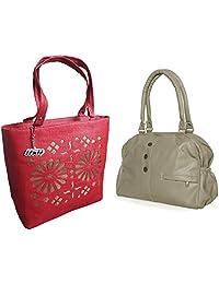 Arc HnH Women HandBag Combo - Elegant Grey + Blossom Red