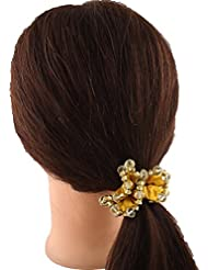 Anuradha Art Golden Tone Stylish Designer Look Hair Accessories Hair Band Stylish Rubber Band For Women/Girls