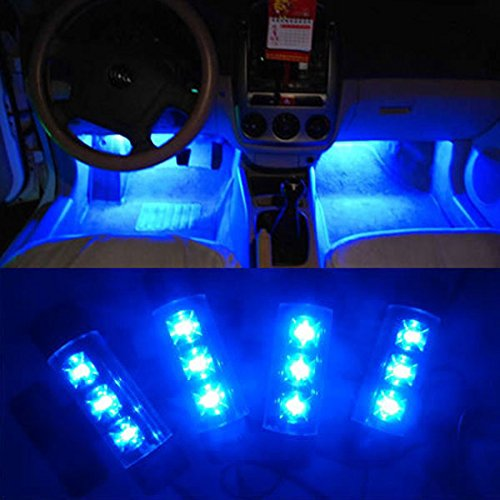 Pesp® 12v 4×3 LED Car Auto Interior Decoration Lights Atmosphere Lamp Blue