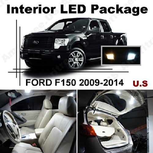 Ameritree Ford F250 F350 Super Duty 2011-2015 (9 Pcs) Xenon White LED Lights Interior Package + White LED License Plate Kit.