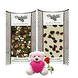 Valentine Chocholik Belgium Chocolates - Wow So Yummy White & Dark Chocolate Bars With Teddy And Rose