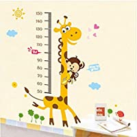 """Happy Walls Kids Height Chart (growth Chart) With """"Way To Grow"""" Phrase In Animation With Tall Giraffee, Monkey..."""