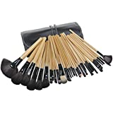 KanCai 32Pcs Makeup Brushes Set Professional Make Up Tool Kit With Leather Case (Wood)