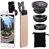 AYAMAYA IPhone 6 6S Plus Camera Lens Kit With 180 Fish-Eye Lens Wide Angle Lens Micro Lens For Smartphones And Tablets With Flat Camera (Black)