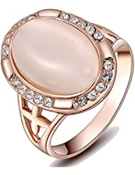 Kaizer 18k Rose Gold Plated Desiner Ring With AAA Swiss Zircon Inspired By Swarovski Element For Women/Girls (...