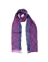 Banna Purple And Pink Organza Dupatta With Kantha Embroidery - Purple