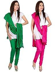 Womens Cottage Combo Pack Of 2 Pure Cotton Chudidar & Cotton Dupatta With Lace Set - B01G1GJIMC