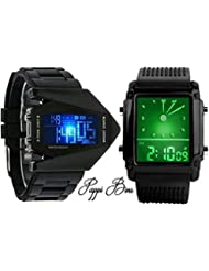 Pappi Boss - Combo Of 2 LED Aircraft Model With Light - DIGITAL DISPLAY & Square Model Digital Led Watch For Boys...