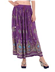 Fashiana Women Long Crinkle Skirt With Printed And Embroided Sequince Work