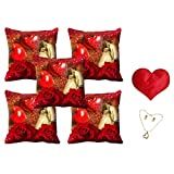 MeSleep Valentine Couple Cushion Cover (16x16) - Set Of 5 With Free Heart Shaped Filled Cushion And Pendant Set