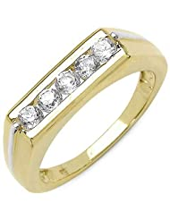 1.15CTW White Cubic Zircon .925 Sterling Silver Gold Plated Ring