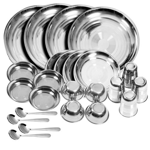 Stainless Steel Dinner Set Of 24 Pcs(Glass, Curry Bowl, Desert Bowl, Spoon, Quater Plate And Full Plate)