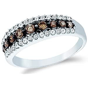 White Gold Round Cut White and Brown Chocolate Diamond Womens Ladies Anniversary Fashion 5mm Ring Band