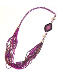 Elegant Bright Purple Seed Bead Off Center Necklace For Women EEN147