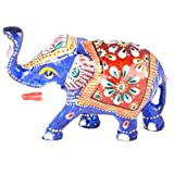 Rajgharana Handicrafts Multi Color Metal Meenakari Delightful Elephant - (4 Cm X 7 Cm)