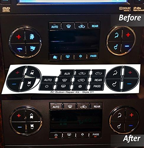 AC Dash Button Repair Kit For GM, Tahoe, Suburban, Avalanche, Silverado, Yukon, Denali, Acadia, Sierra & Buick Enclave – Fix Ruined Faded A/C Controls For OEM Genuine General Motors Factory Part