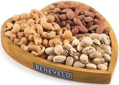 Gourmet Gift Tray with Mixed Nuts Platter, Featuring Roasted and Salted Almonds, Pistachios, & Cashews in a Heart-Shaped Wooden Tray, By Benevelo Gifts