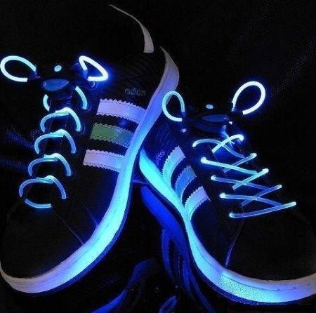 【光る靴ひも】フラッシュ ストリング(ブルー) LED ランニングシューズ 靴紐
