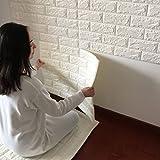 JJQStickers muraux 3D créatif auto adhésif motif papier peint papier peint chambre à coucher décorant le salon TV fond brique d'étanchéité , white