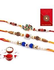 Ethnic Rakhi Traditional Handmade Multi-Color Desinger Spritual Mauli Thread And Beads Rakhi Set Of 3 Piece For... - B01IIMFLA0
