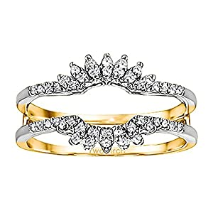 0.22CT Diamonds Contoured Wedding Ring Jacket set in Two Tone Sterling Silver (0.22CT TWT Diamonds G-H SI2-I1 )