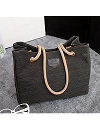 Summer 2016 Canvas Simple Women Handbag Big Beach Shopping Bag Ladies Black Fashion Woman Casual Handbags Shoulder...
