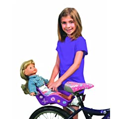 Doll Bicycle Seat - Ride Along Dolly Bike Seat (Purple) with Decorate Yourself Decals (Fits American Girl and Standard Sized Dolls and Stuffed Animals) - Purple