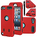iPod Touch 5 Case, E LV iPod Touch 5 Case - Hard and Soft Hybrid Armor Defender Sports Combo Case for Apple iPod Touch 5 iTouch 5th Generation with 1 Screen Protector, 1 Negroid Stylus, 1 Water Resistant Bag and 1 E LV Microfiber Digital Cleaner (RED / BLACK)