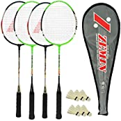 Guru Zemin BR07 COMBO-02 Badminton Racket Set Pack Of Four With Four Cover & 6 Shuttlecock Size: 27 Inch