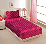 Swayam Printed Cotton Single Bedsheet with 1 Pillow Cover - Magenta