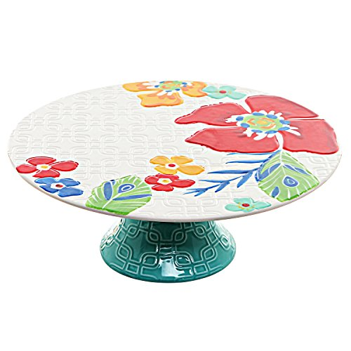 11.5 inch Colorful Tropical Flowers Floral Ceramic Serving Platter / Party Cake & Cupcake Display Stand