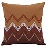 Elan Cotton Cushion Covers Ikat Brown Embroidery Cushion Cover 40 X 40 CM (Brown)