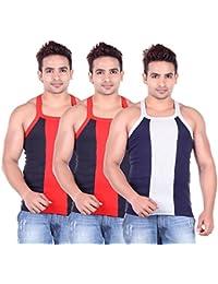 Lienz Fit Men's Sports Gym Vest Black And Blue Color - Pack Of 3 - B06XJPZV36